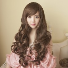 Long Curly Big Wave Oblique Bangs Natural Wig 3 Colors