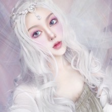 Long Roll Big Wave Silver White Lolita Wigs