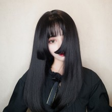 Long Straight Black Sweet Cute Lolita Wigs