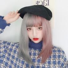 Long Straight Fashion Personality Gray Purple Stitching Sweet Lolita Wigs