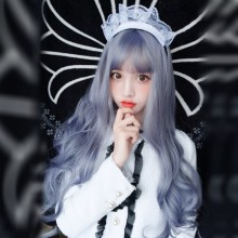Long Roll Fashion Personality Purple Gray Sweet Lolita Wigs