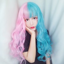 Long Curly Big Wave Fashion Half Blue Half Pink Cute Sweet Lolita Wigs