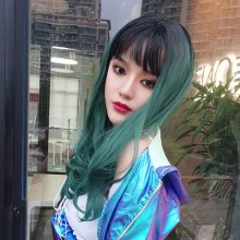 Long Curly Fashion Personality Green Sweet Lolita Wigs