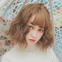 Short Curly Fashion Personality Light Brown Cute Sweet Lolita Wigs
