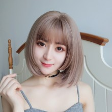 Short Straight Fashion Sweet Pale Pink Lolita Bob Wigs